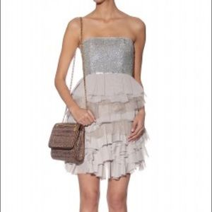 Alice & Olivia Nude Embellished Ruffle Dress